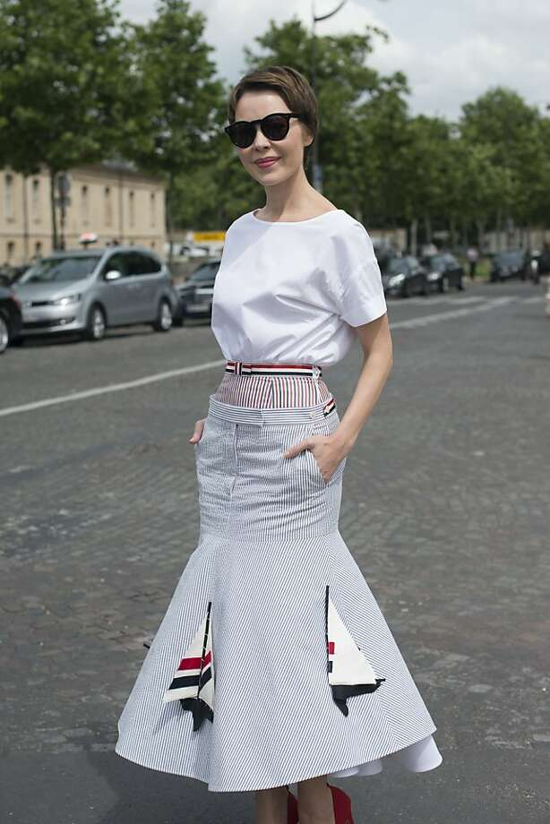 Fasion designer and photographer Ulyana Sergeenko wears a Thom Browne top and skirt on day 1 of Paris Collections: Women's Haute Couture on July 01, 2013 in Paris, France. Photo: Kirstin Sinclair, FilmMagic