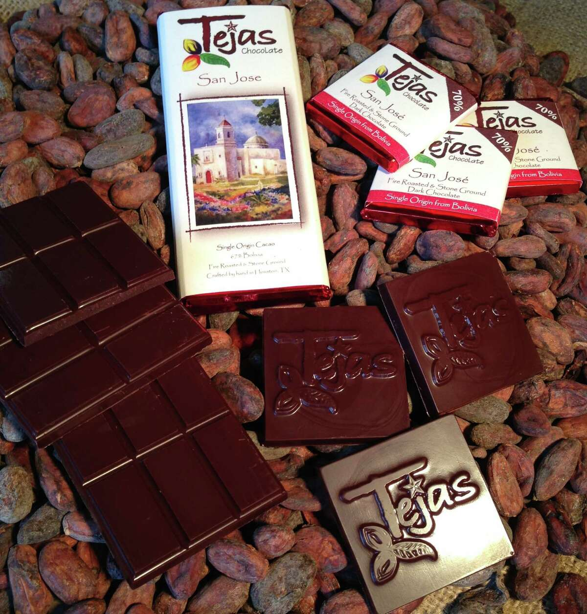 """Tejas Chocolates are made in Spring, TX. """"We hand craft chocolate using only premium cocoa beans sourced from cacao farms around the world. Our method is uniquely Texan and inspired by traditional artisan chocolate makers. """""""