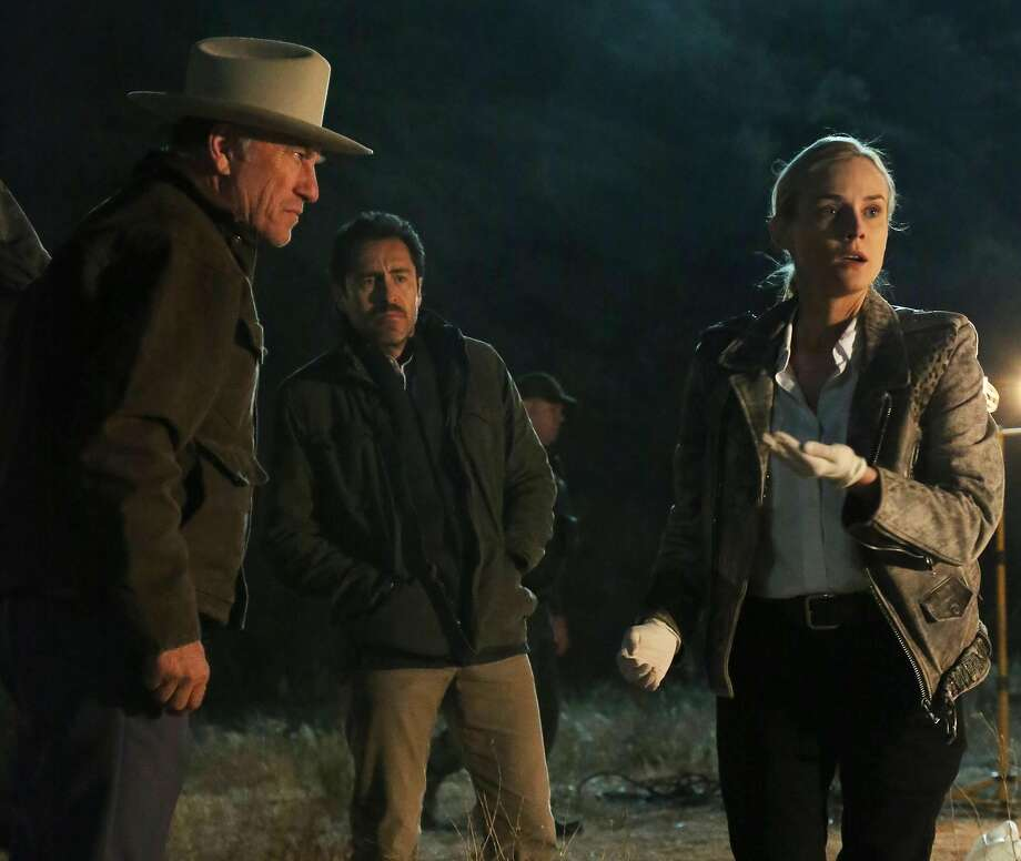 "THE BRIDGE - ""Calaca"" - Episode 2 (Airs, Wednesday, July 17, 10:00 pm e/p) Pictured: (L-R) Ted Levine as Lt. Hank Wade, Demian Bichir as Marco Ruiz, Diane Kruger as Sonya Cross. Photo: Byron Cohen, FX"