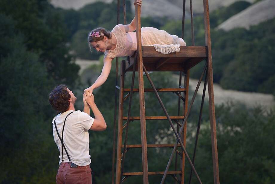 "Romeo (Dan Clegg) visits Juliet (Rebekah Brockman) at her balcony in Cal Shakes' production of ""Romeo & Juliet."" Photo: Kevin Berne"