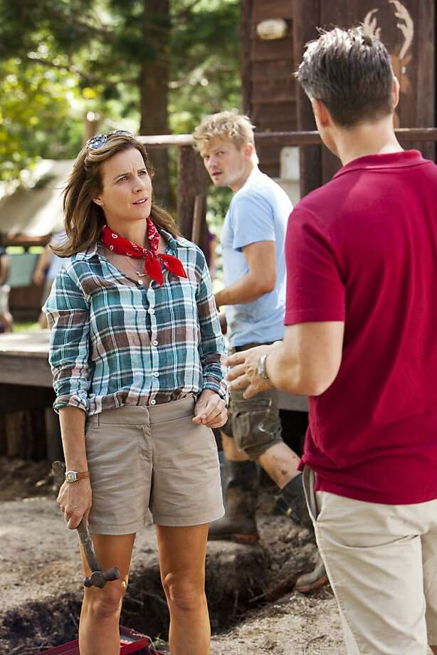"Rachel Griffiths (left) stars in NBC's ""Camp"" with Nikolai Nikolaeff and Rodger Corser. Photo: Vince Valitutti, NBC"