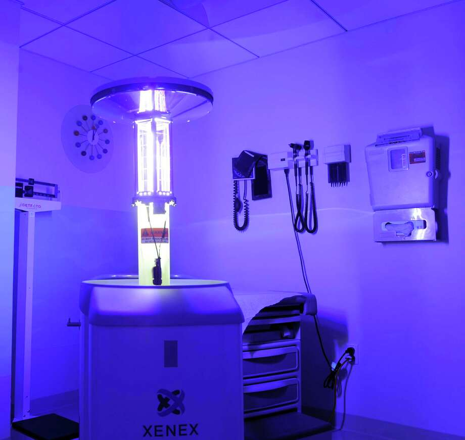 A Xenex machine bathes a room at Tully Health Center in Stamford, Conn. in an ultra-violet light to sanitize the room during a demonstration of the new machine on Tuesday, December 11, 2012. Photo: Lindsay Niegelberg, Niegelberg / Stamford Advocate