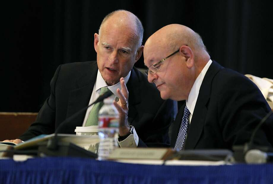 Gov. Jerry Brown (left) and UC President Mark Yudof attend the Board of Regents meeting in January. Photo: Paul Chinn, The Chronicle