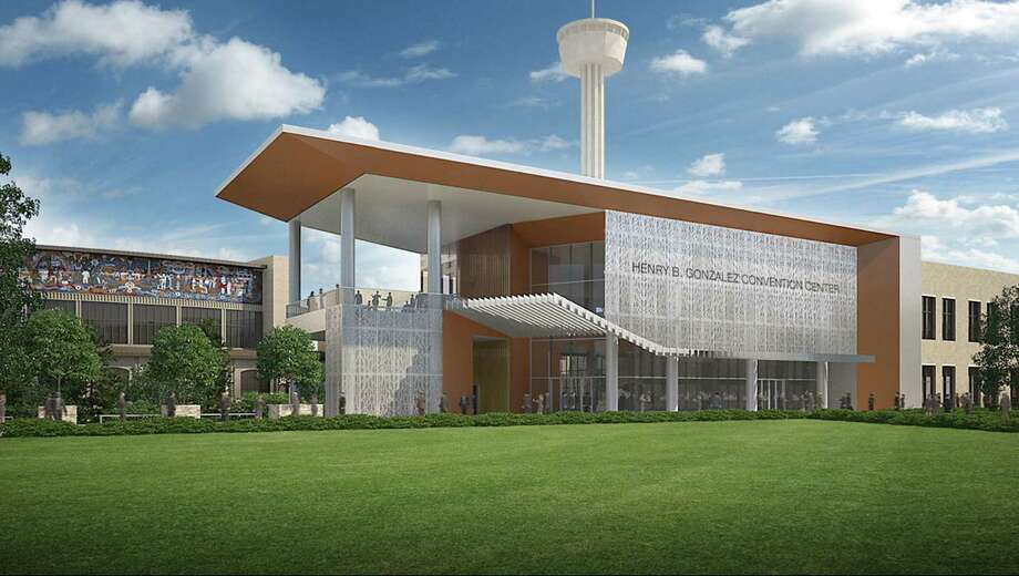 A new structure, near the intersection of Alamo and Market streets, would house a museumlike tenant, according to plans by the city and the HemisFair Area Redevelopment Corp. Photo: Courtesy Rendering / Populous