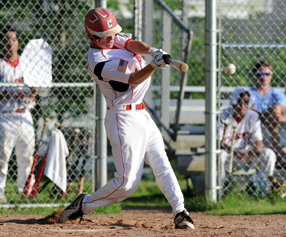 Dylan Callahan of Greenwich singles in 2 runs during the bottom of the 4th inning of game against Westport during Senior Legion baseball game at Havemeyer Field in Greenwich, Friday, July 5, 2013. Photo: Bob Luckey / Greenwich Time