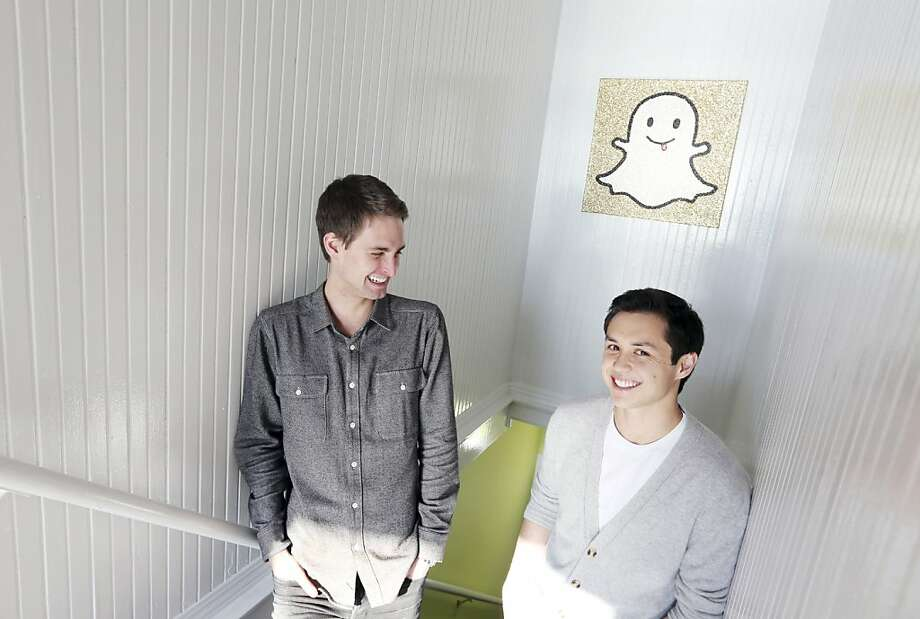 Evan Spiegel (left) and Bobby Murphy are being sued over the Snapchat app, which automatically deletes photos. Photo: J Emilio Flores, New York Times