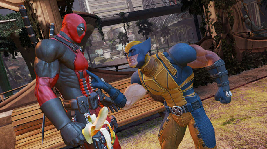 "You can expect many characters from Marvel Comics to make guest appearances in ""Deadpool."" Here, Wolverine confronts a banana-wielding Deadpool. Photo: Photos Courtesy Of Activision"