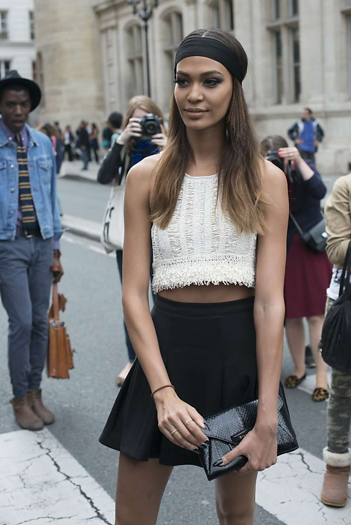 Model Joan Smalls on day 3 of Paris Collections: Women's Haute Couture on July 03, 2013 in Paris, France. (Photo by Kirstin Sinclair/FilmMagic)