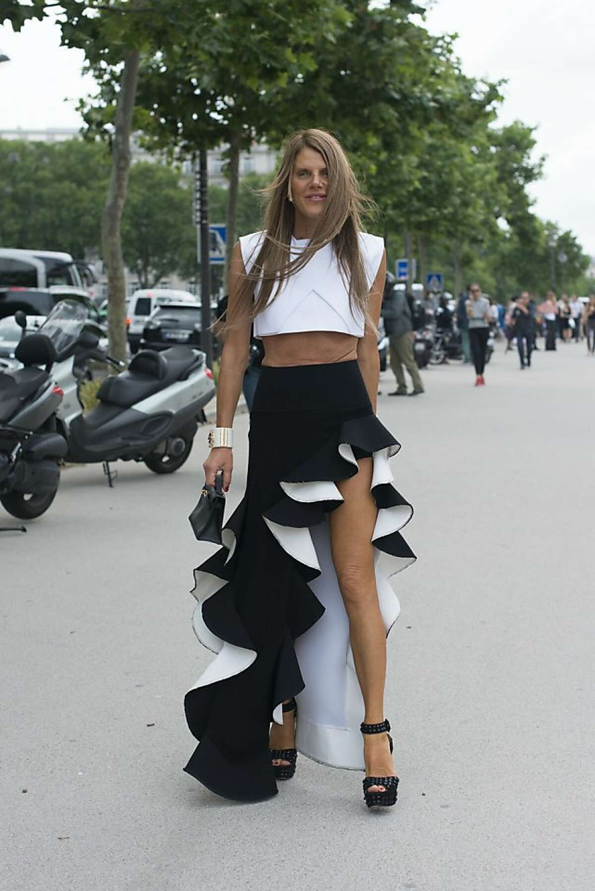 Editor at large of Vogue Japan Anna Dello Russo wears a Balenciage top and skirt on day 1 of Paris Collections: Women's Haute Couture on July 01, 2013 in Paris, France. (Photo by Kirstin Sinclair/FilmMagic)