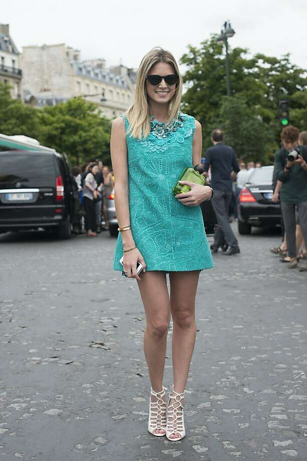 Fashion Blogger Helena Bordon wears Martha Mediros dress, Louis Barcelos shoes and a Charlotte Olympia bag on day 2 of Paris Collections: Women's Haute Couture on July 02, 2013 in Paris, France.  (Photo by Kirstin Sinclair/FilmMagic) Photo: Kirstin Sinclair, FilmMagic