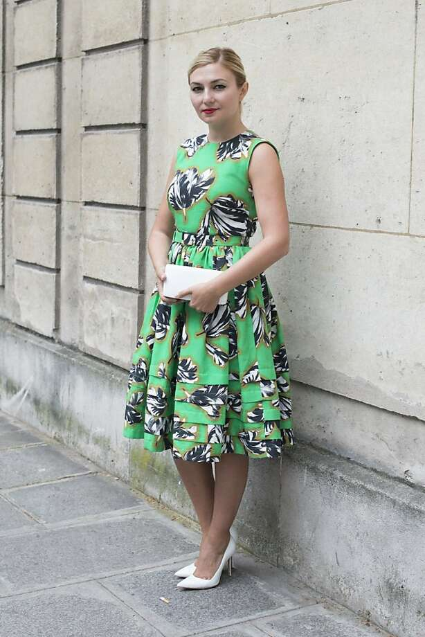 Nassiba Adilova wears a Jonathan Saunders Resort dress, Manolo Blahnik shoes and a Rochio bag on day 3 of Paris Collections: Women's Haute Couture on July 03, 2013 in Paris, France.  (Photo by Kirstin Sinclair/FilmMagic) Photo: Kirstin Sinclair, FilmMagic