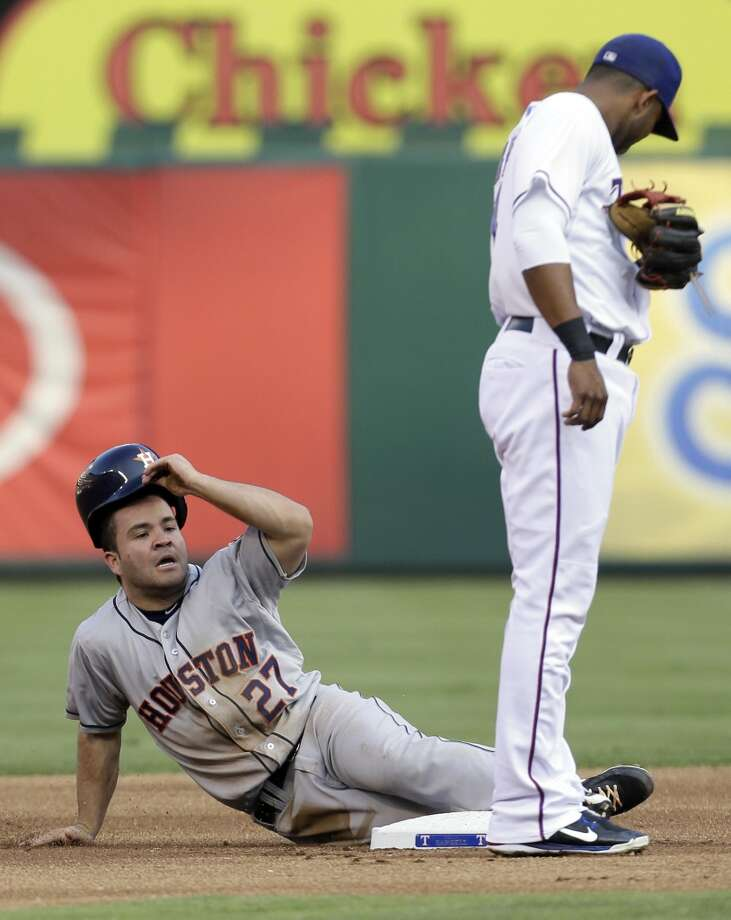 Jose Altuve adjust his helmet after stealing second base.