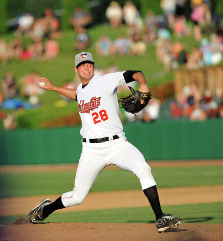 ValleyCats pitcher Mark Appel, the No. 1 pick in the 2013 baseball draft, winds up during their game against Lowell Spinners on Friday, July 5, 2013, at Bruno Stadium in Troy, N.Y. (Cindy Schultz / Times Union) Photo: Cindy Schultz / 00023060A