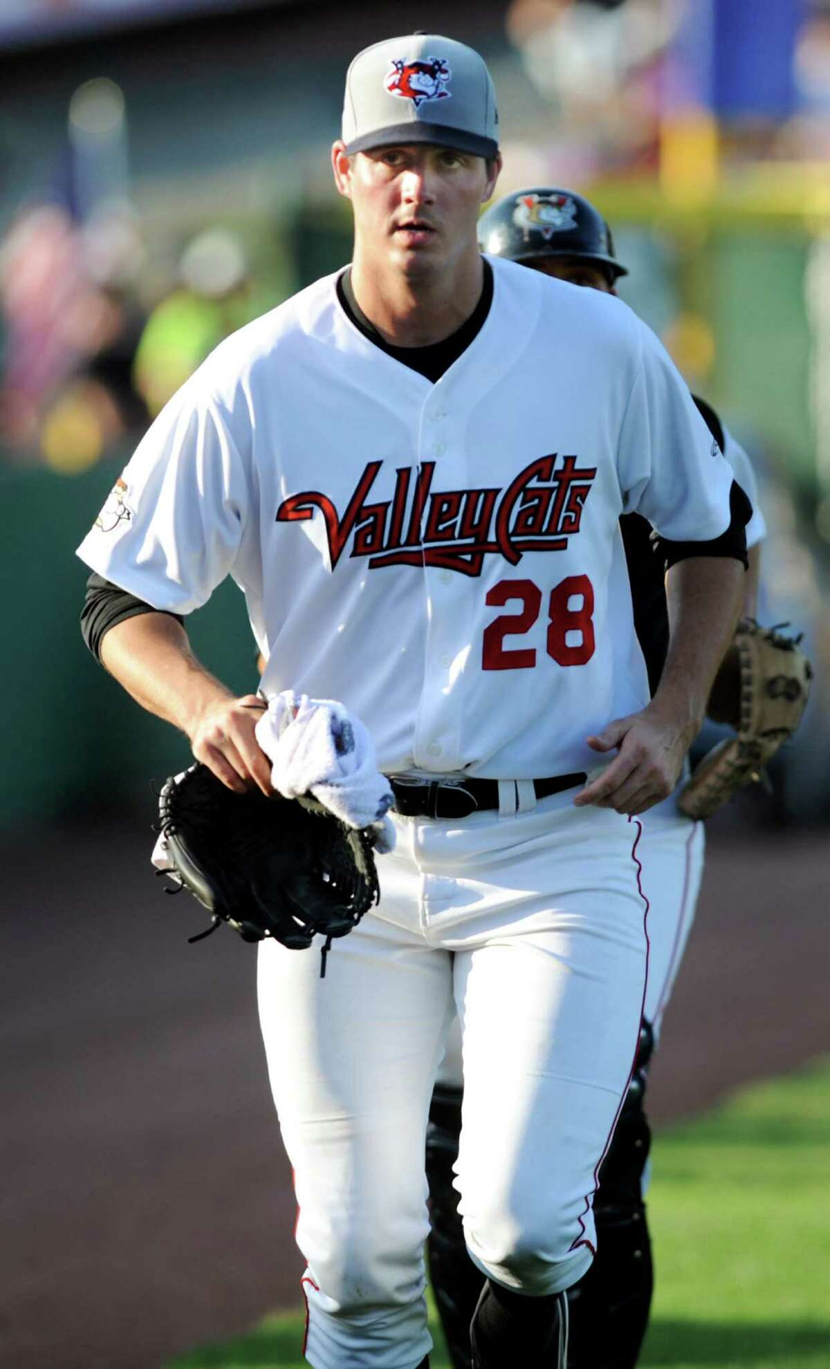 ValleyCats pitcher Mark Appel, the No. 1 draft pick in the 2013 baseball draft, runs onto the field during their game against Lowell Spinners on Friday, July 5, 2013, at Bruno Stadium in Troy, N.Y. (Cindy Schultz / Times Union)