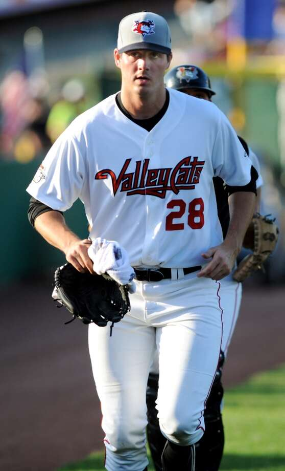 ValleyCats pitcher Mark Appel, the No. 1 draft pick in the 2013 baseball draft, runs onto the field during their game against Lowell Spinners on Friday, July 5, 2013, at Bruno Stadium in Troy, N.Y. (Cindy Schultz / Times Union) Photo: Cindy Schultz, Albany Times Union