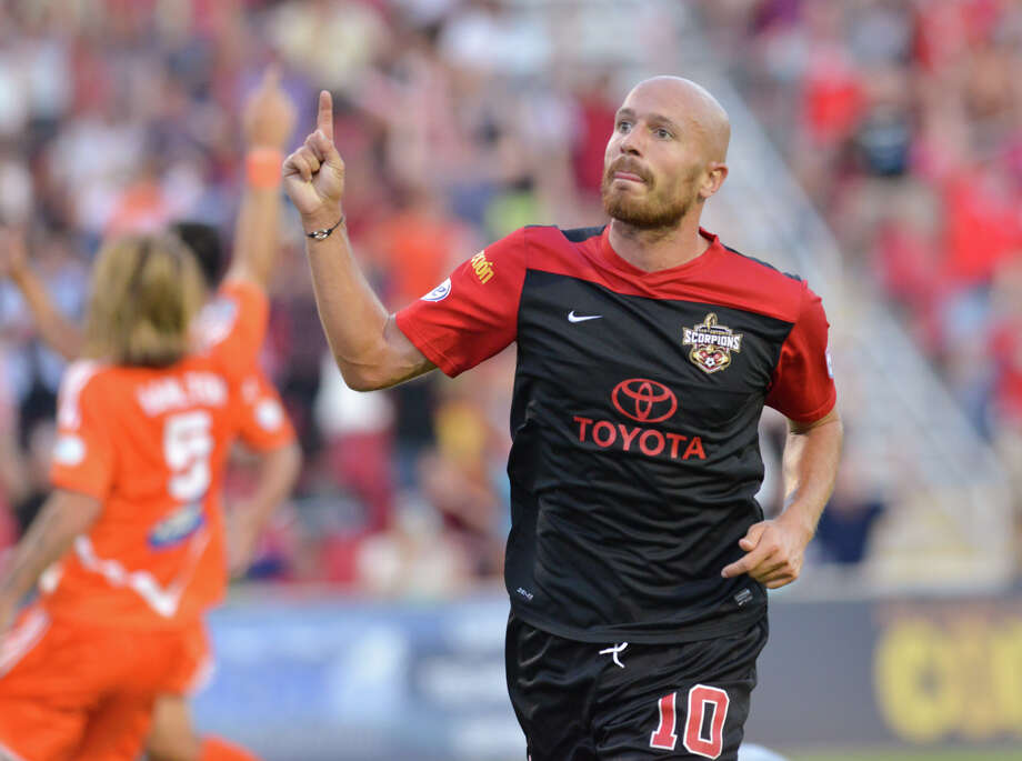 Scorpions Hans Denissen reacts to scoring a first half goal versus the Carolina Railhawks Thursday at Toyota Field. Photo: For The San Antonio Express-News