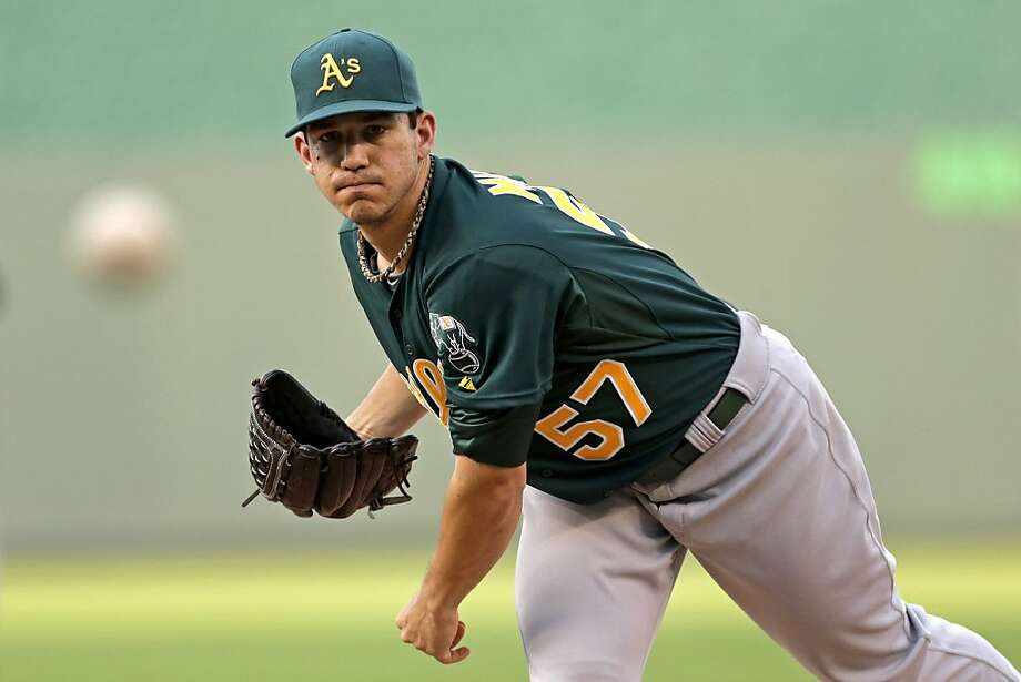 Oakland Athletics starting pitcher Tommy Milone throws during the first inning of a baseball game against the Kansas City Royals Friday, July 5, 2013, in Kansas City, Mo. (AP Photo/Charlie Riedel) Photo: Charlie Riedel, Associated Press