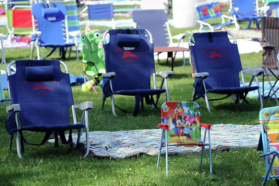 Empty chairs set-up prior to the Town of Greenwich fireworks show at Binney Park in Old Greenwich, Saturday, July 6, 2013. Photo: Bob Luckey / Greenwich Time