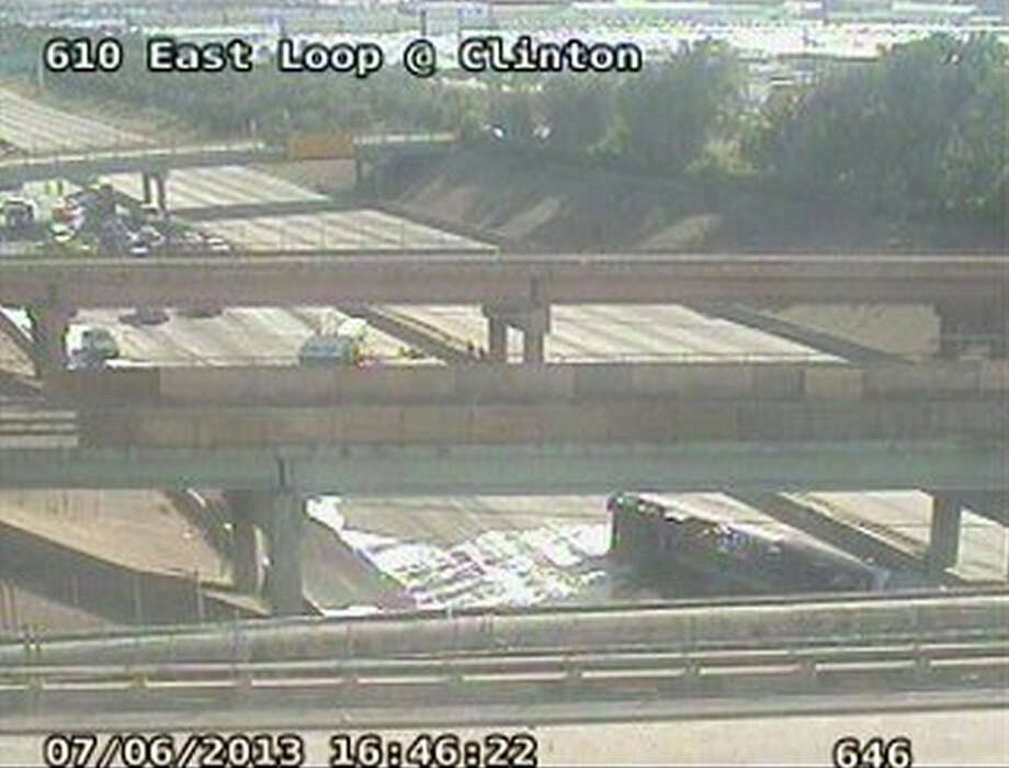 A wreck Saturday afternoon shut down traffic on part of I-610. Photo: Houston Transtar