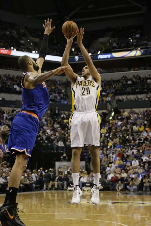 Indiana Pacers power forward Jeff Pendergraph (29) in action as the Indiana Pacers played the New York Knicks in an NBA basketball game in Indianapolis, Wednesday, Feb. 20, 2013. The Pacers won 125-91. (AJ Mast / Associated Press)