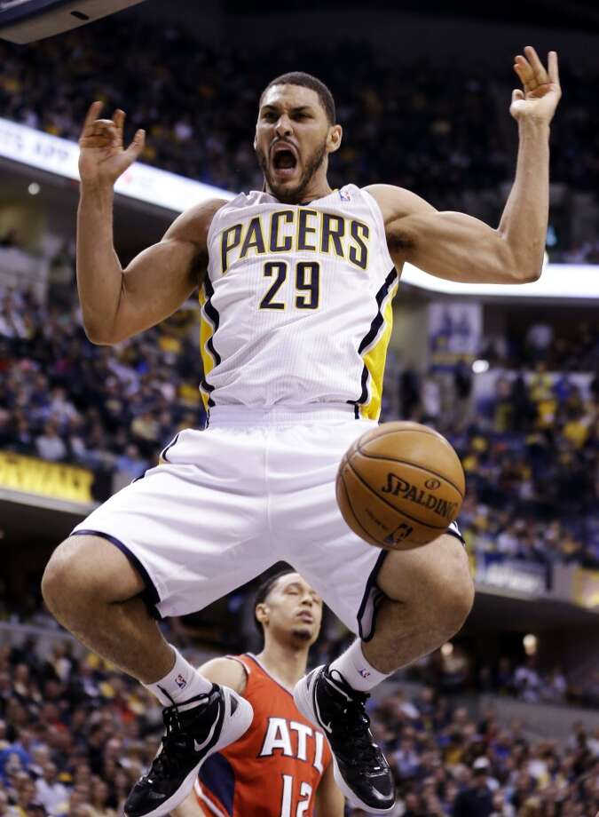 Indiana Pacers forward Jeff Pendergraph reacts after a dunk against the Atlanta Hawks in the second half of Game 2 of a first-round NBA basketball playoff series in Indianapolis, Wednesday, April 24, 2013. The Pacers won 113-98. (Michael Conroy / Associated Press)