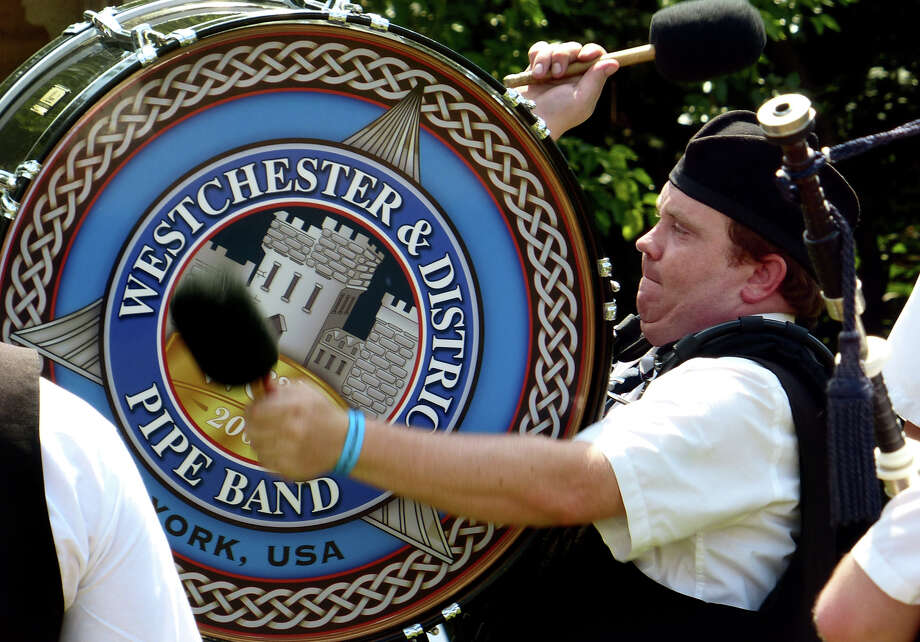 Fred Pawson, with the Westchester & District Pipe Band rehearses, during the 90th Annual Round Hill Highlander Games at Cranbury Park in Norwalk, Conn. on Saturday July 6, 2013. Photo: Christian Abraham / Connecticut Post