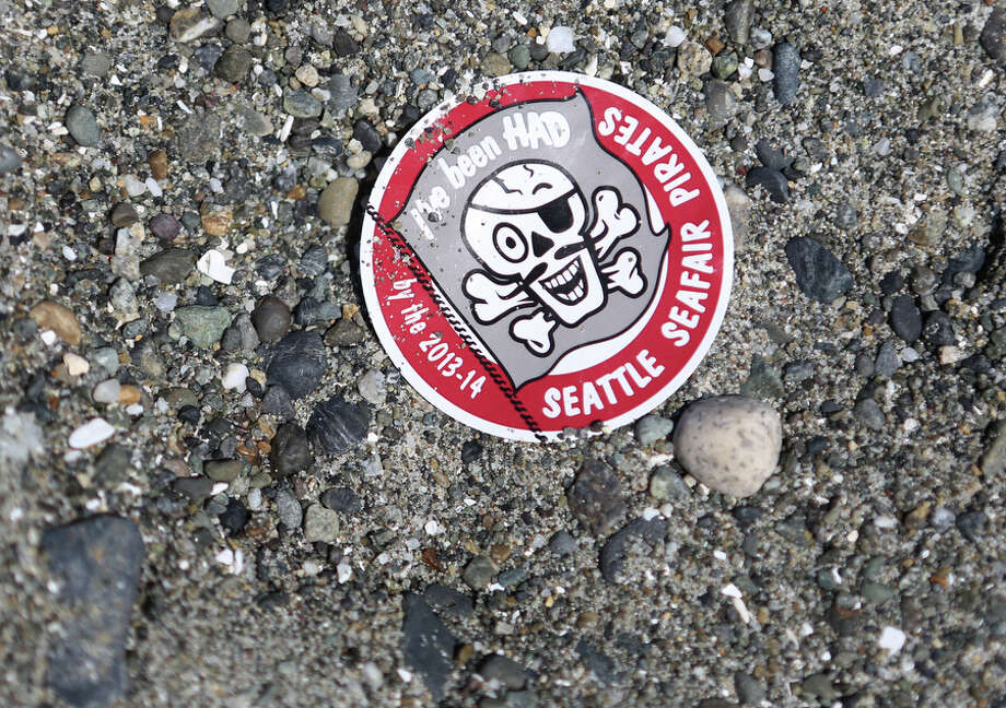 A sticker is shown on the beach during the Seafair Pirates Landing. Photo: JOSHUA TRUJILLO, SEATTLEPI.COM