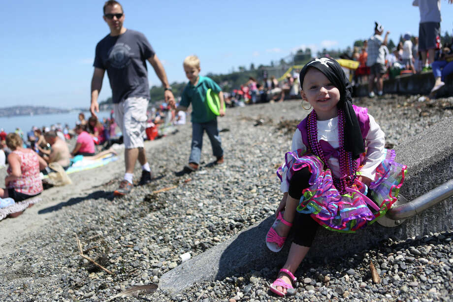 Emmi Milden, 3, sports a pirate costume. Photo: JOSHUA TRUJILLO, SEATTLEPI.COM