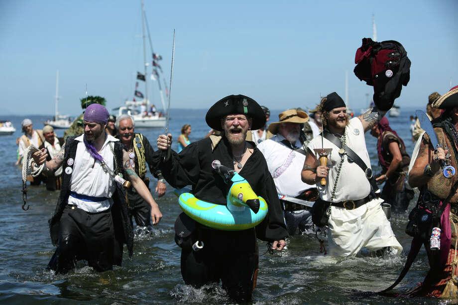 Pirates storm the beach. Photo: JOSHUA TRUJILLO, SEATTLEPI.COM