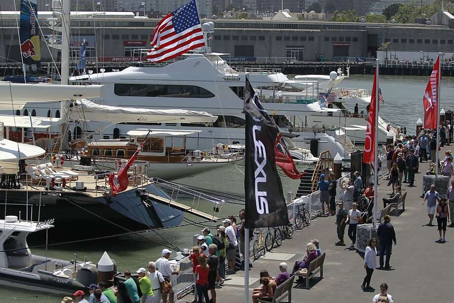 Even if there's not much racing action, America's Cup Park at Piers 27/29 offers a vibe that's a cross between the French Riviera and Fisherman's Wharf. Photo: Michael Macor, The Chronicle