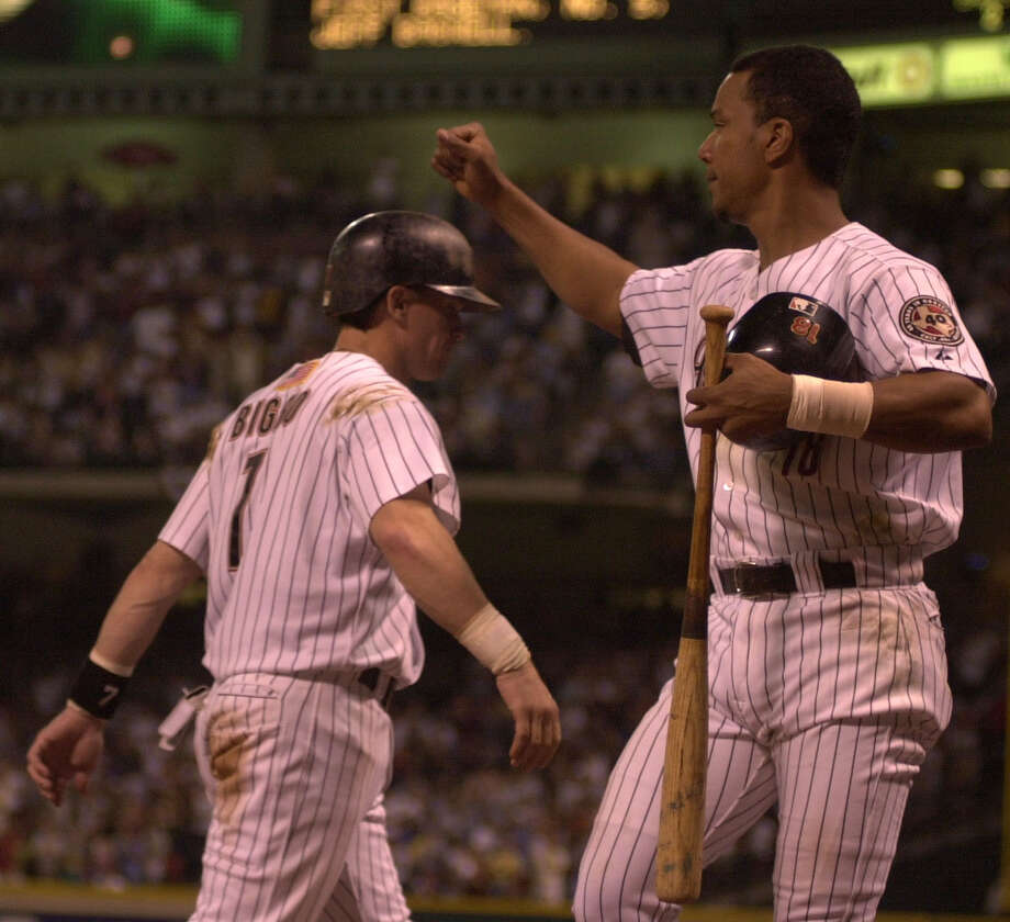 1998: Craig Biggio and Moises AlouBiggio stole a career high 50 bases and hit 20 home runs. Alou was synonymous for his batting stance, but in 1998 he hit a career high 38 home run and 124 RBIs. Photo: Karen Warren, Chronicle