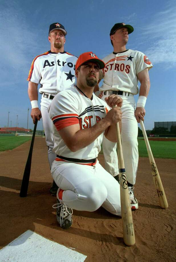 1994: Craig Biggio, Jeff Bagwell and Ken CaminitiBagwell won the National League MVP and finished the year with 39 home runs and 116 RBIs.Biggio stole 39 bases, a career high at that point and he also hit 44 doubles. This was Caminiti's only All-Star game as an Astro, he hit 18 home runs, his career high with the Astros. Photo: Karen Warren, Chronicle