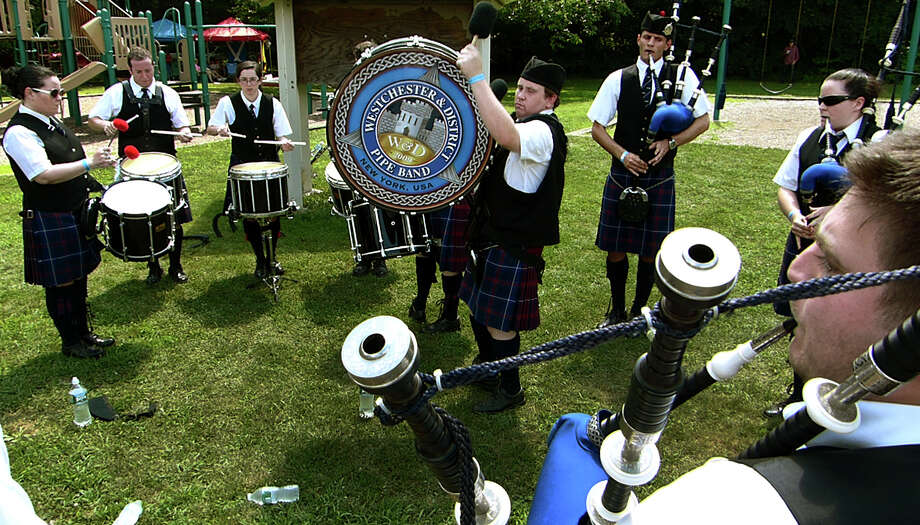 The Westchester & District Pipe Band rehearses, during the 90th Annual Round Hill Highlander Games at Cranbury Park in Norwalk, Conn. on Saturday July 6, 2013. Photo: Christian Abraham / Connecticut Post