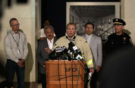 (l to r) Airport Operations manager John Martin, San Francisco Mayor Ed Lee, Korean Consulate General Han, Police Chief Greg Surh, listen as Fire Chief Joanne Hayes-White releases details during a press conference in San Francisco, Calif., on Saturday July 6, 2013,  about the crash of Asiana Airlines flight 214 this morning at San Francisco International airport. Photo: Michael Macor, The Chronicle