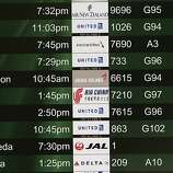 A few flights show being cancelled in San Francisco, Calif., on Saturday July 6, 2013, after the crash of Asiana Airlines flight 214 this morning at San Francisco International airport.