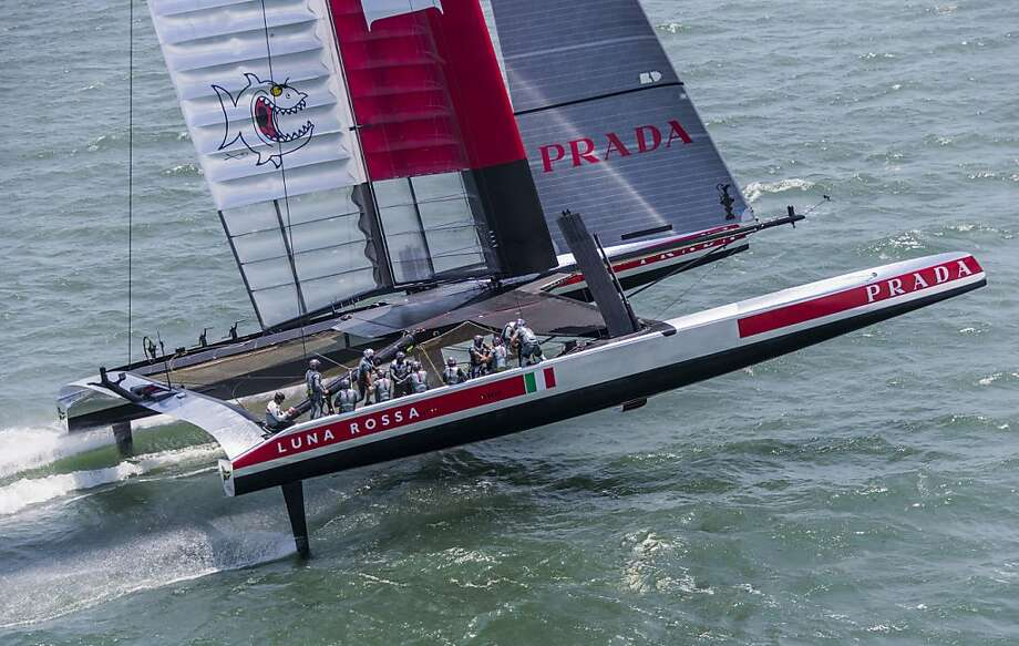 Luna Rossa Challenge makes a training run on San Francisco Bay on Wednesday, but the team announced it will not race in Sunday's opener because of an unresolved rules dispute. Photo: Carlo Borlenghi, Luna Rossa