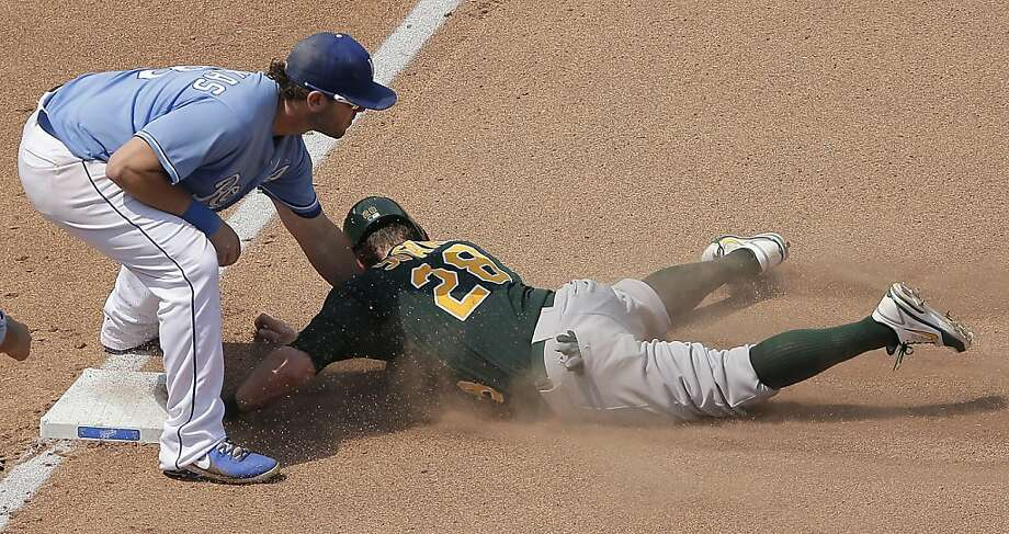 Oakland Athletics' Eric Sogard is tagged out at third by Kansas City Royals third baseman Mike Moustakas as he tired to advance on a fly ball hit by Coco Crisp during the seventh inning of a baseball game Saturday, July 6, 2013, in Kansas City, Mo. Sogard was out at third for the second out of the double play. (AP Photo/Charlie Riedel) Photo: Charlie Riedel, Associated Press