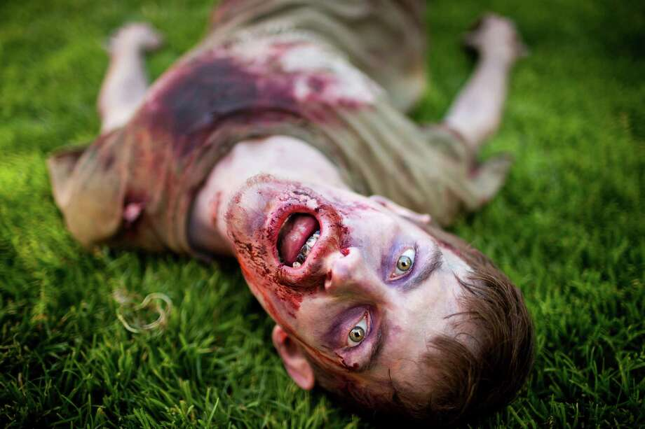 "A ""wounded"" zombie writhes in the grass near the Space Needle during the fifth annual Red, White and Dead Zombie Walk Saturday, July 6, 2013, around the Seattle Center in Seattle. This year, the horde relocated from their long-time Fremont location to the larger Seattle Center to accommodate more roaming, undead bodies. Photo: JORDAN STEAD, SEATTLEPI.COM / SEATTLEPI.COM"