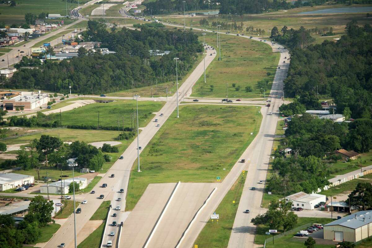 A recent aerial view of Texas 249, looking northwest toward Tomball and Montgomery County, shows where construction will soon begin on the new toll road.