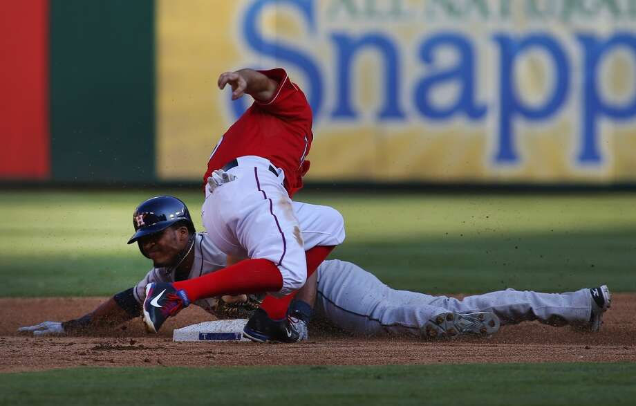 Jimmy Paredes steals second base against the Rangers.