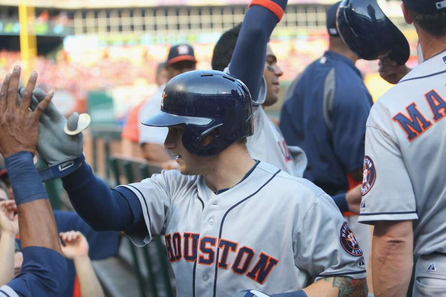 July 6: Astros 9, Rangers 5Brandon Barnes celebrates a two-run home run.