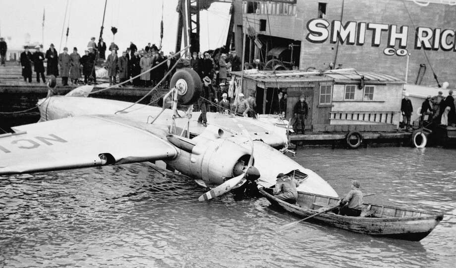 1937: A huge United Airlines transport plane is shown being raised on Thursday, February 11, 1937 from the San Francisco Bay, California, United States, into which it fell on Tuesday night with the loss of 11 lives. The plane was about to land at the local airport after a flight from Los Angeles when it plunged into the water. Photo: File / AP