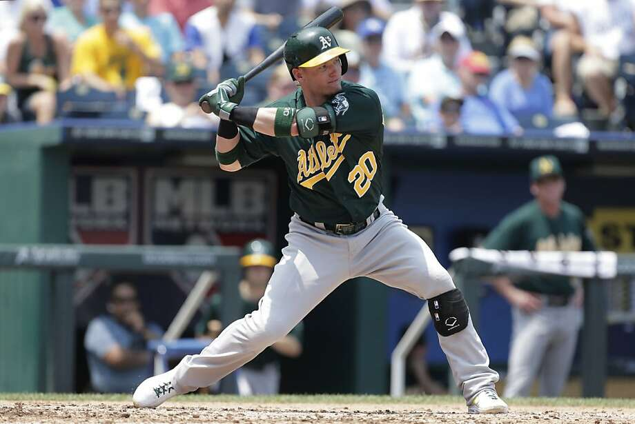 Oakland Athletics' Josh Donaldson bats during the third inning of a baseball game against the Kansas City Royals Saturday, July 6, 2013, in Kansas City, Mo. (AP Photo/Charlie Riedel) Photo: Charlie Riedel, Associated Press