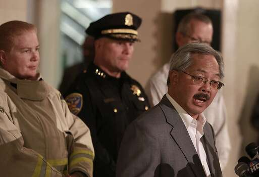 San Francisco Mayor Ed Lee, during a press conference in San Francisco, Calif., on Saturday July 6, 2013, releases further details  as Fire Chief Joanne Hayes-White, Police Chief Greg Surh, listen during a press conference about the crash of Asiana Airlines flight 214 this morning at San Francisco International airport, on Saturday July 6, 2013. Photo: Michael Macor, The Chronicle