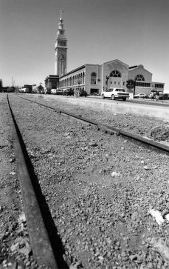 Historic Belt Line Rail tracks along the Embarcadero,  August 29, 1991.