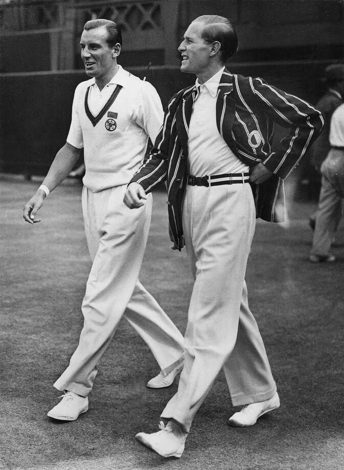 Fred Perry, left, and Gottfried von Cramm, right, display sartorial elegance on the grass courts at Wimbledon — a far cry from the high-tech outfits of today's game. Photo: Keystone-France, Gamma-Keystone Via Getty Images / 1936 Keystone-France