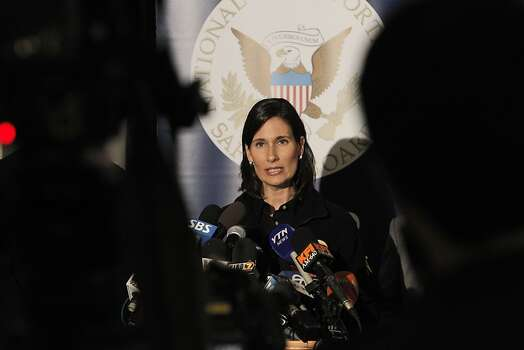 Deborah Hersman, Chairman of the NTSB, spoke about Flight 214's crash at SFO during a press conference on Sunday. San Francisco International Airport, city officials and National Transportation Safety Board members detailed the investigation into the crash of Asiana Flight 214 at a press conference at SFO on Sunday, July 7, 2013, in San Francisco, Calif. Photo: Carlos Avila Gonzalez, The Chronicle