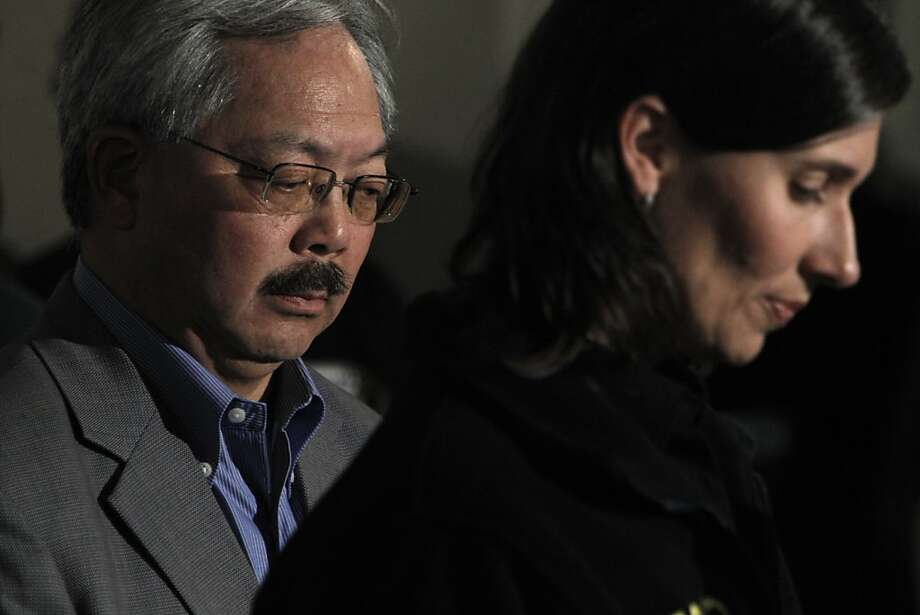 San Francisco Mayor Ed Lee listens as Deborah Hersman, Chairman of the NTSB, speaks about Flight 214's crash at SFO during a press conference on Sunday. San Francisco International Airport, city officials and National Transportation Safety Board members detailed the investigation into the crash of Asiana Flight 214 at a press conference at SFO on Sunday, July 7, 2013, in San Francisco, Calif. Photo: Carlos Avila Gonzalez, The Chronicle