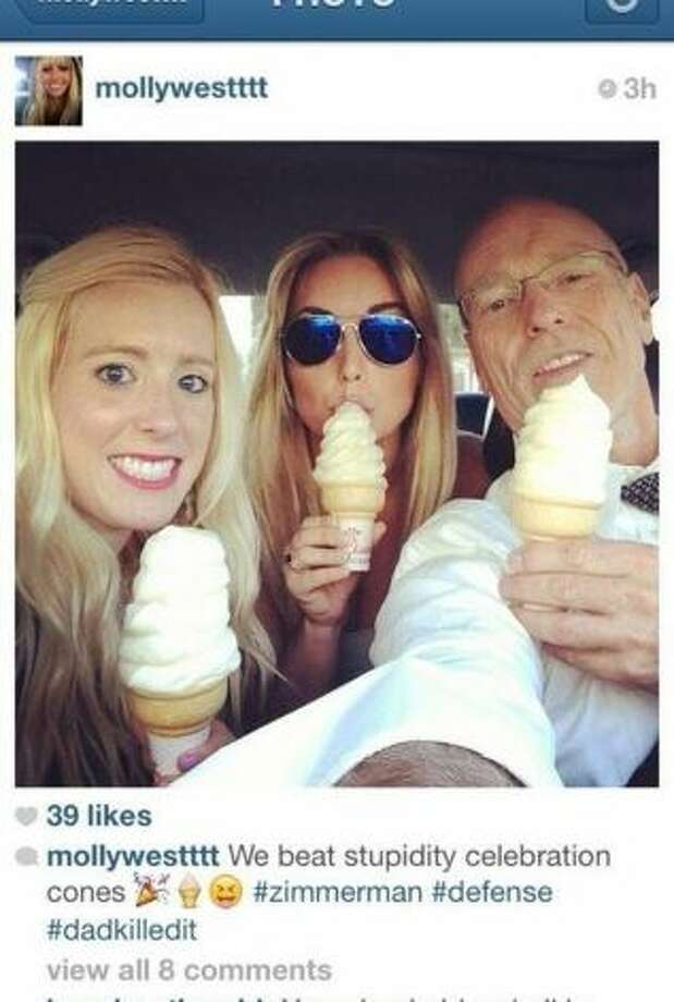 In this undated photo posted on Instagram, George Zimmerman defense attorney Don West, right, eats ice cream with his daughters. Prosecutors have asked a judge in the George Zimmerman trial to conduct an inquiry into the Instagram photo, but the lawyer said Tuesday, July 2, 2013, that it was unrelated to testimony in the case. Social media has become inextricably tied to daily life, a fact reflected by its presence in Zimmerman's murder trial. The trial is a top trend almost daily, with thousands of people tweeting their thoughts with the hashtag #ZimmermanTrial. Photo: AP Photo: Courtesy