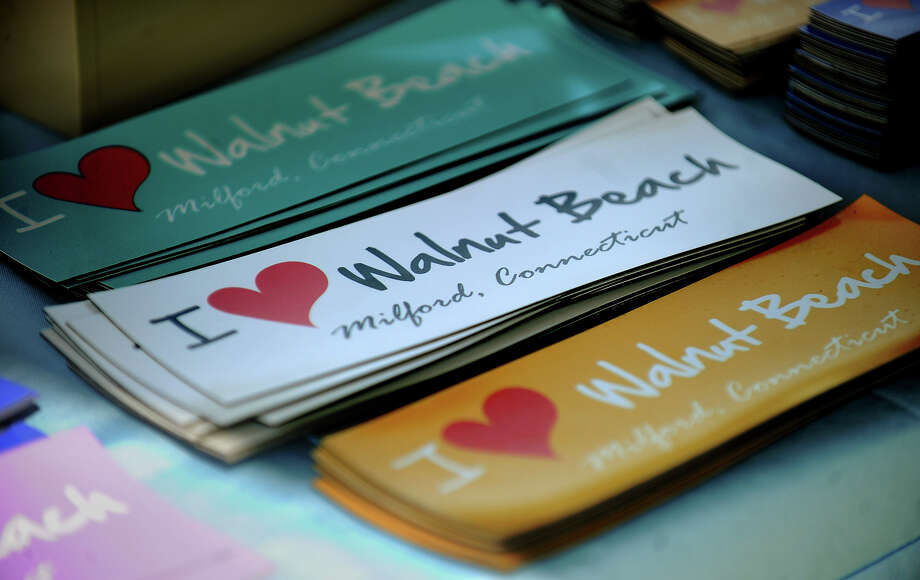 Walnut Beach magnetic stickers for sale at the opening of the summer weekly concert series at the Walnut Beach Pavilion in Milford, Conn. on Sunday, July 7, 2013. Photo: Brian A. Pounds / Connecticut Post